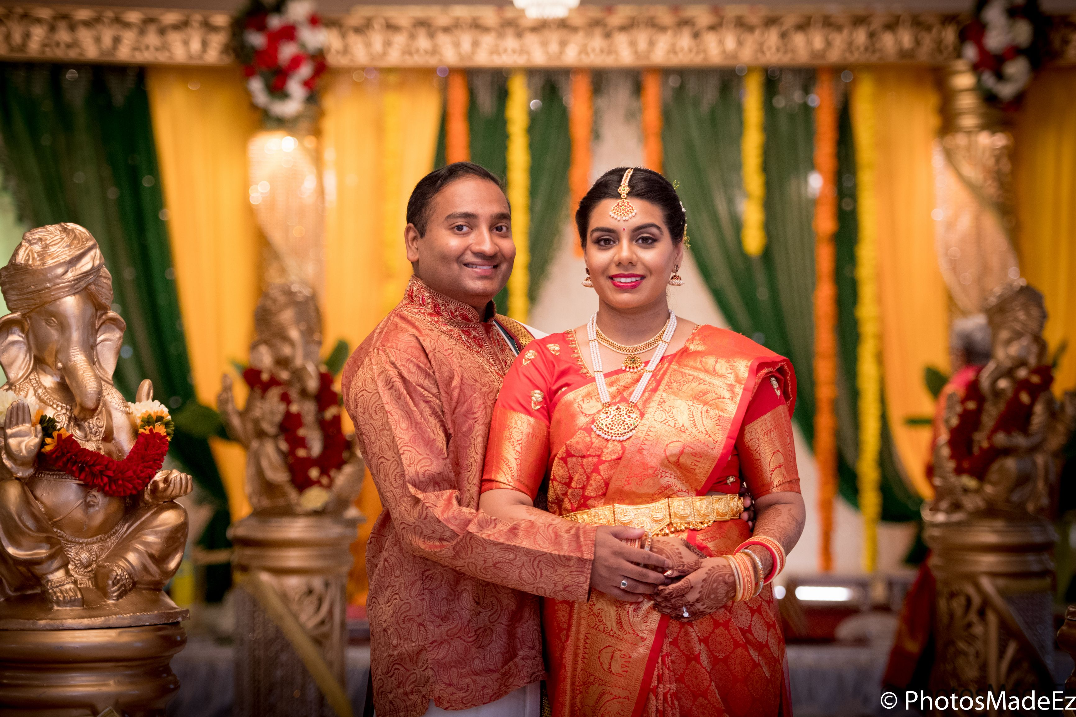 Bride and groom photo at south indian wedding in the skylands nj