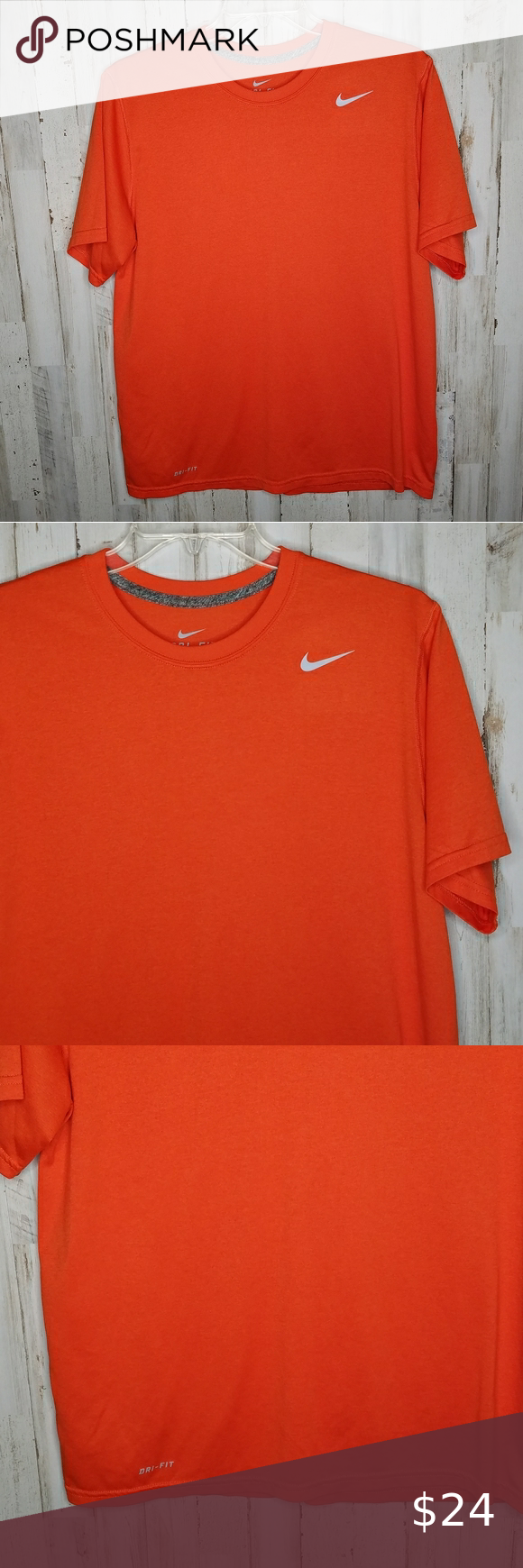 Nike Dri Fit Shirt Short Sleeve Orange Size Large Nike Dri Fit Tshirt Short Sleeve Orange Excellent preowned condition, no stains, no flaws 100% polyester Size Large  Length- 27 inches Chest- 22 inches pit to pit  Inv#009 Nike Shirts Tees - Short Sleeve