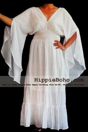 d5aed1a2cd4 No.302 - Size XS-7X Hippie Boho Bohemian Gypsy White Long Sleeve Plus Size  Sundress Pixie Funky Full Skirt