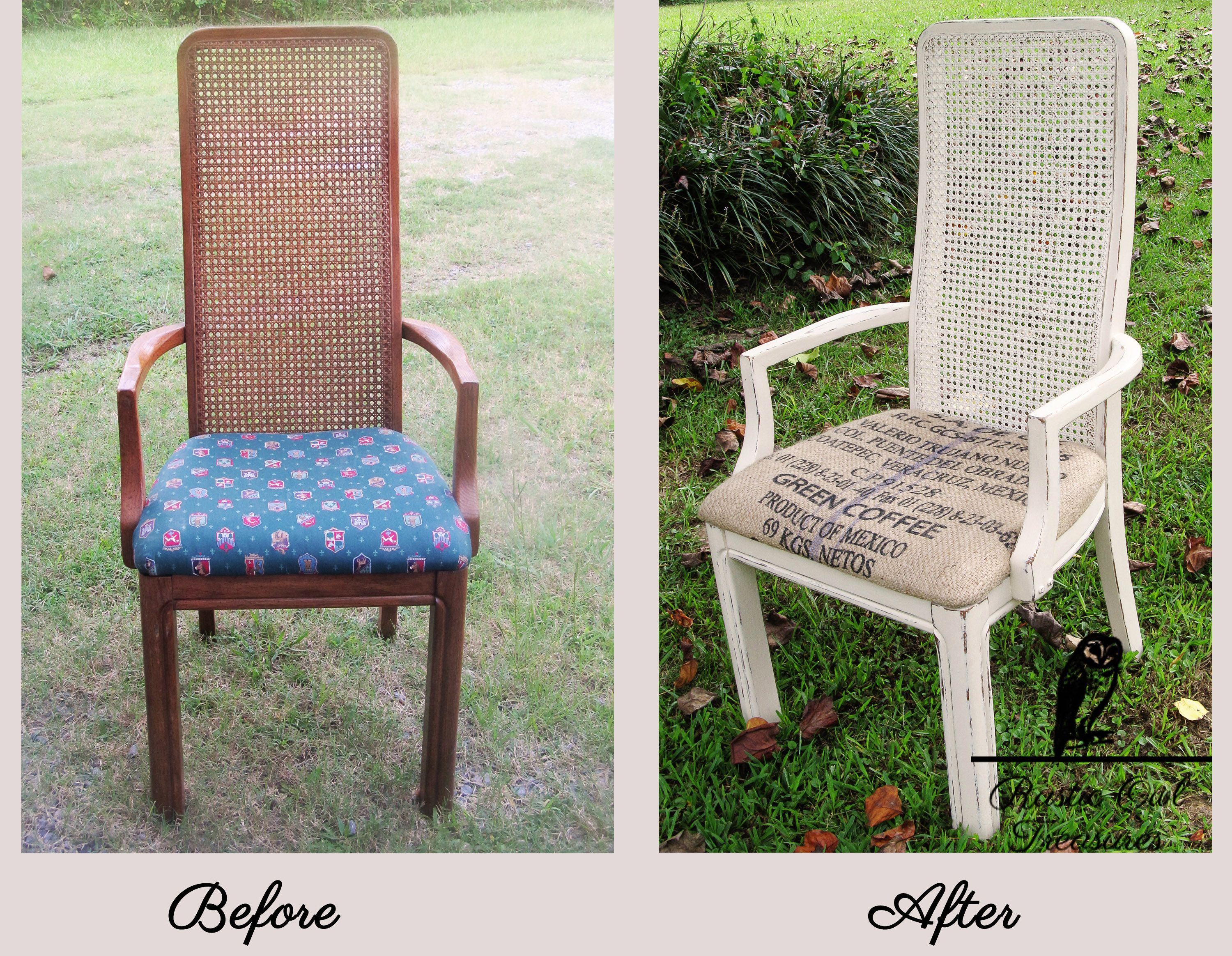 after Vintage Cane back chair painted in Annie Sloan Chalk Paint