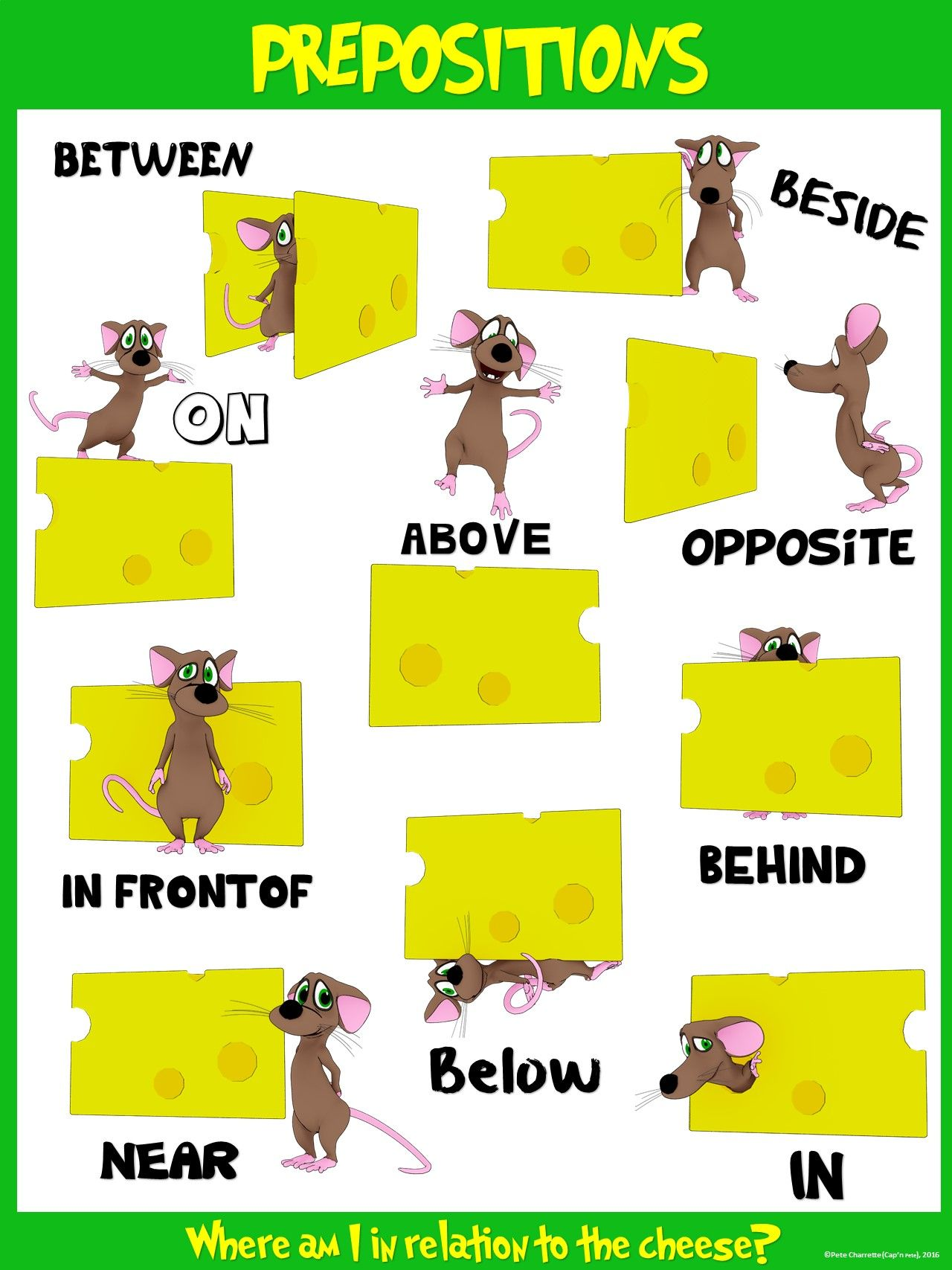 Classroom Fun Poster Preposition Mice