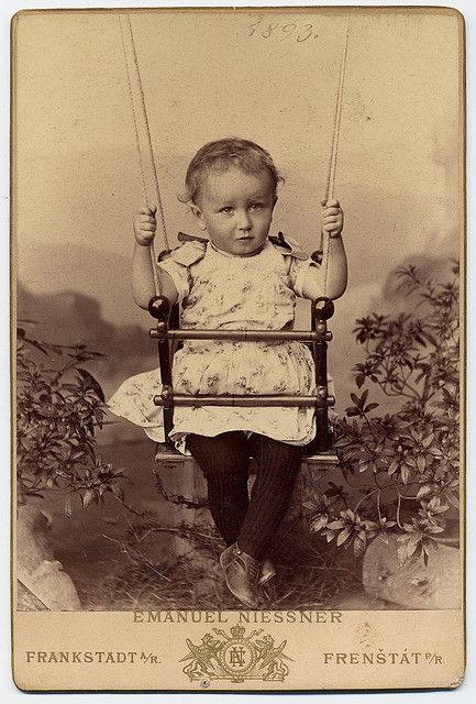 St Albans Antique 1890s Cabinet Card adorable Little Girl on a Swing with her Brother VT