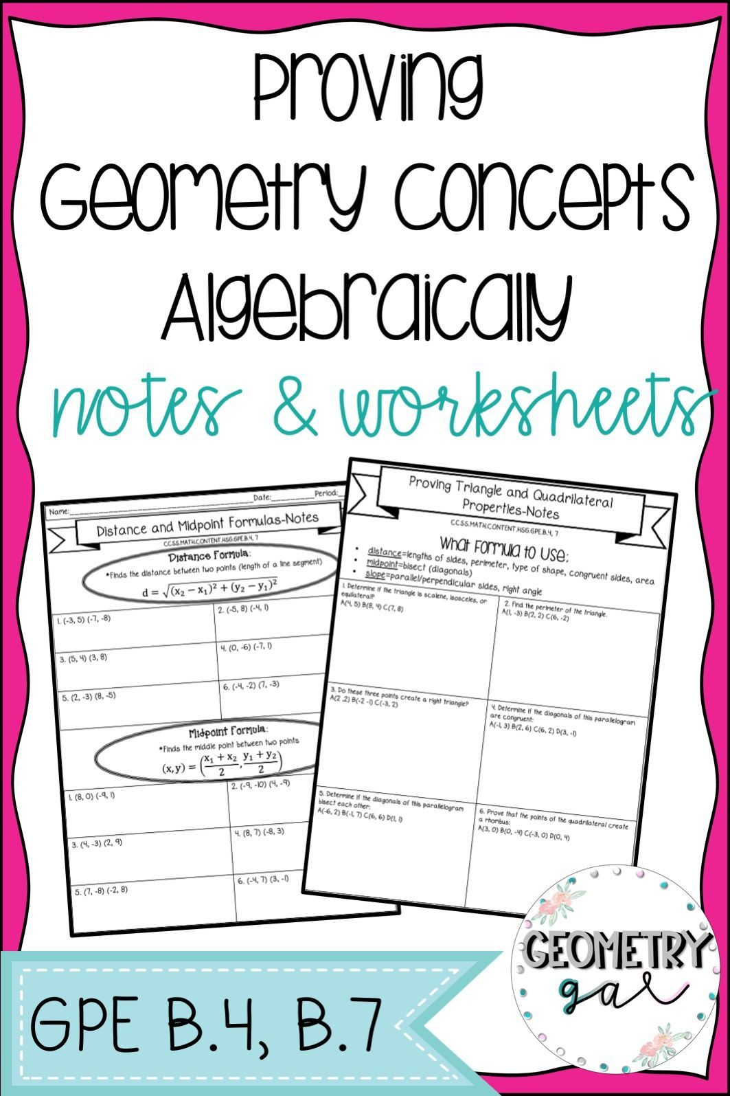 Coordinate Geometry Notes And Worksheets