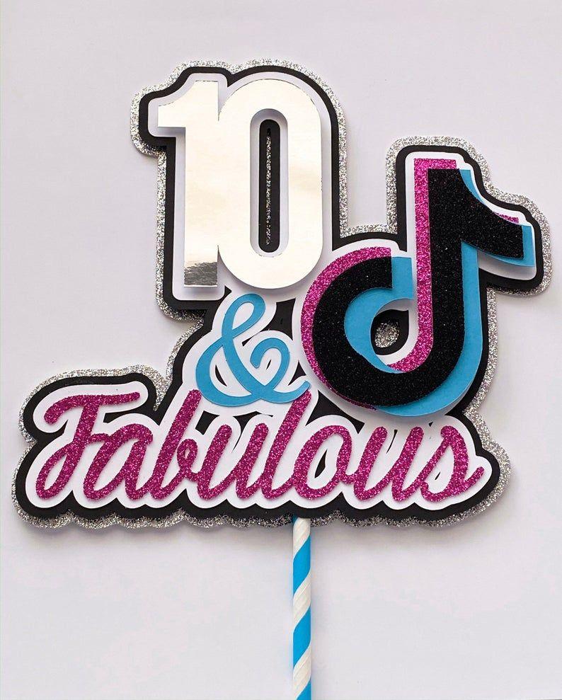 Pin on Tik tok Party   Tiktok 10th Birthday Cake
