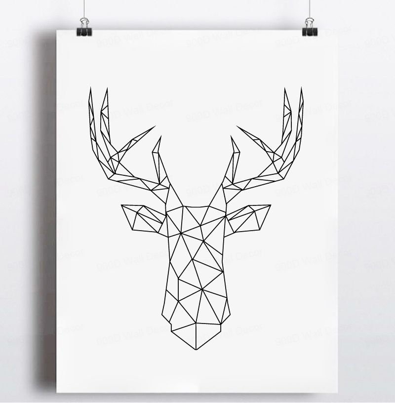 Aliexpress.com : Buy Geometric Deer Head Canvas Art Print ...