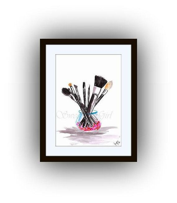 Makeup Brushes Fashion Art Coco Chanel Logo Printable Beauty Print Wall Art Home Bathroom Decor Gift For Her Basement Decor Artist Project Home Decor