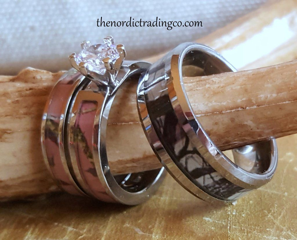 Woodlands Camouflage His Hers Wedding Ring Sets Women S 2pc Pink