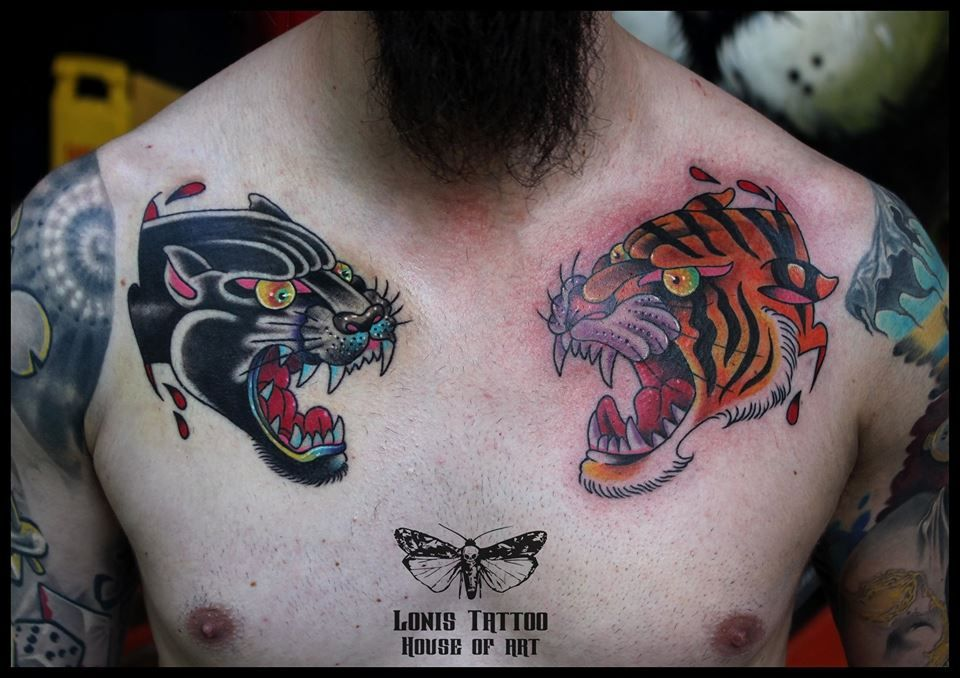 Chest Piece Tattoo Traditional Panther Tattoo Traditional Tiger