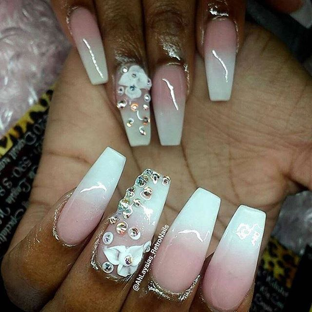 Beautiful Pink and White Fade using P3 and White Acrylic by @ahlaysias_retronails ✨