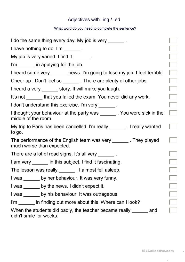 Adjectives Ed Or Ing Endings Adjectives Ing Words Worksheets [ 1079 x 763 Pixel ]