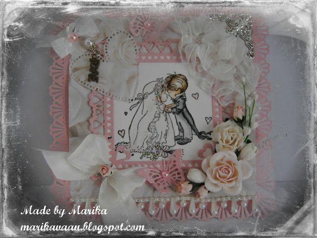vaaleanpunaista pitsinnypläystä ja nappikauppaa: LOTV hääkortti- LOTV Wedding Card