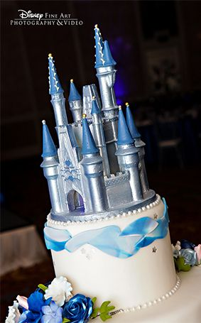 blue and silver castle cake topper fit for a princess