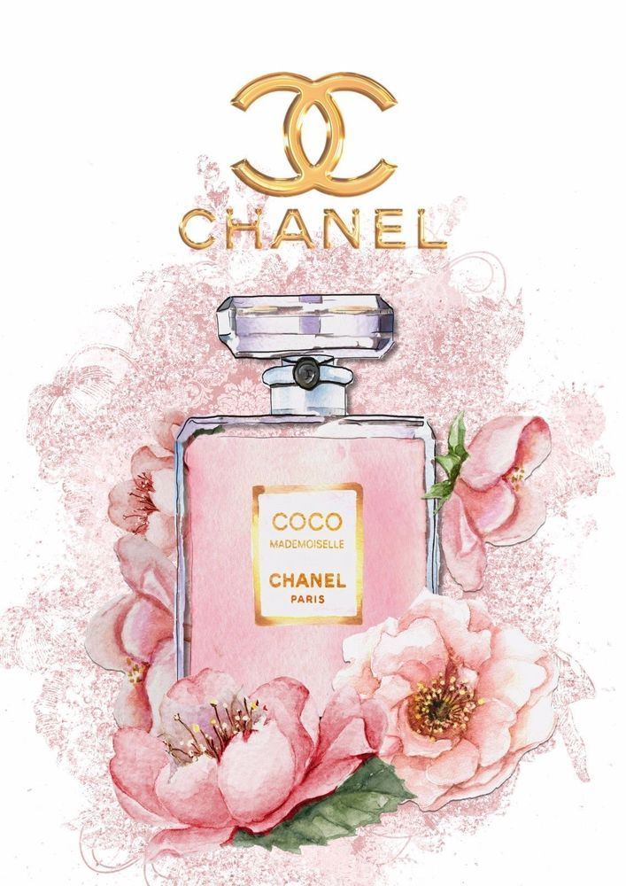 Coco Chanel Mademoiselle Print Watercolour Art Floral Glossy Print