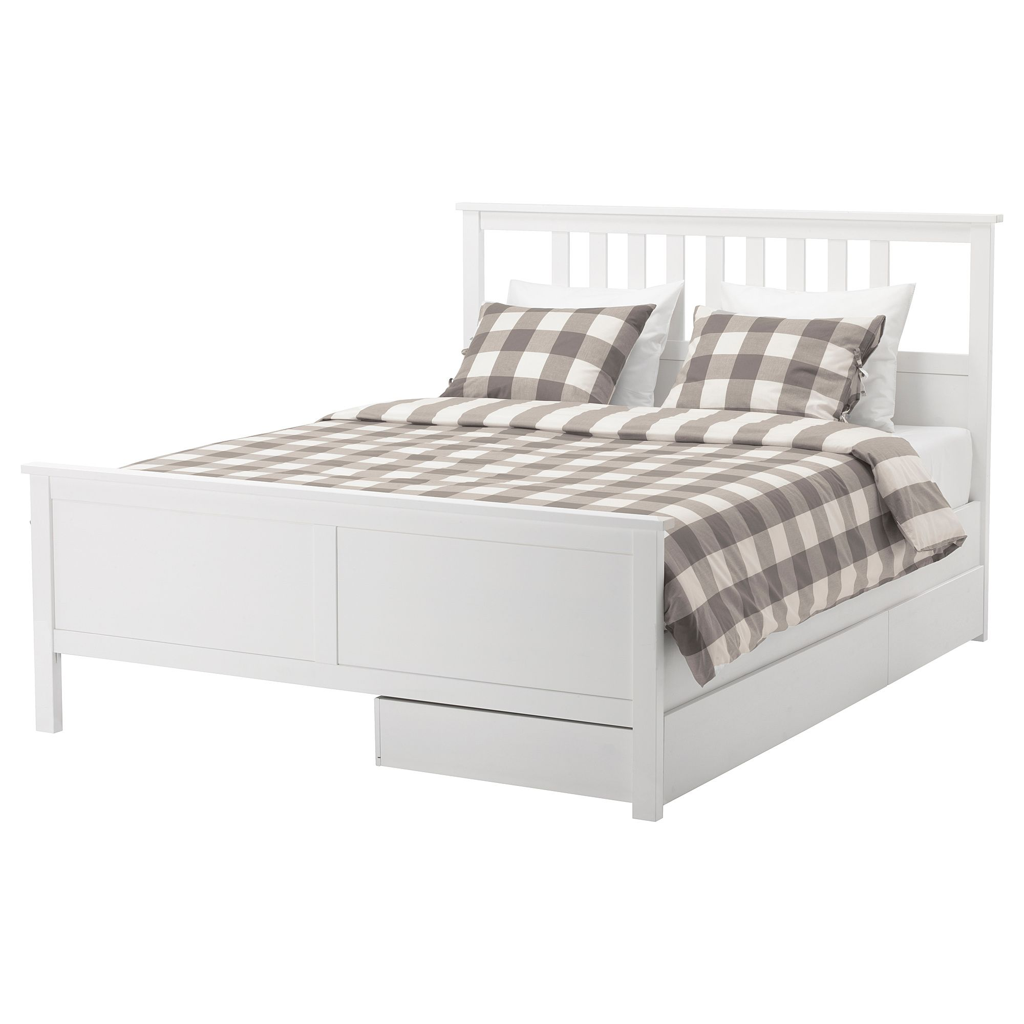 Hemnes Bed Frame With 2 Storage Boxes White Stain Lonset Queen