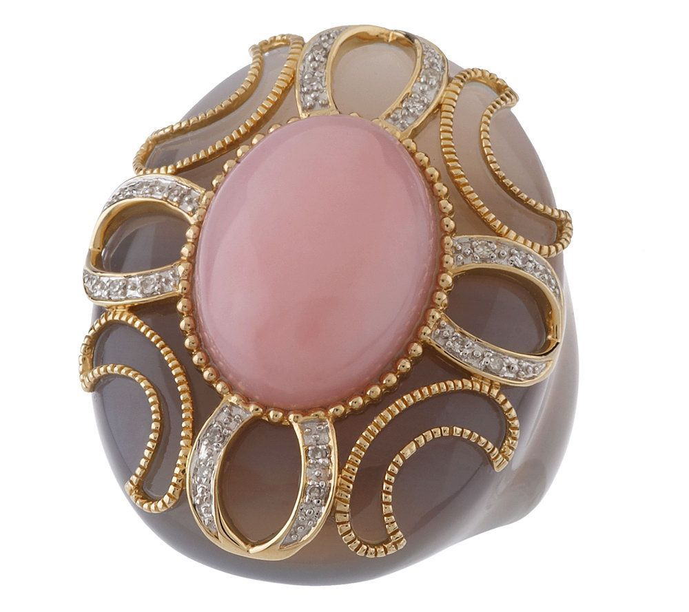 Bold Carved Grey Agate and Pink Opal Ring with Overlay 14K Gold ...