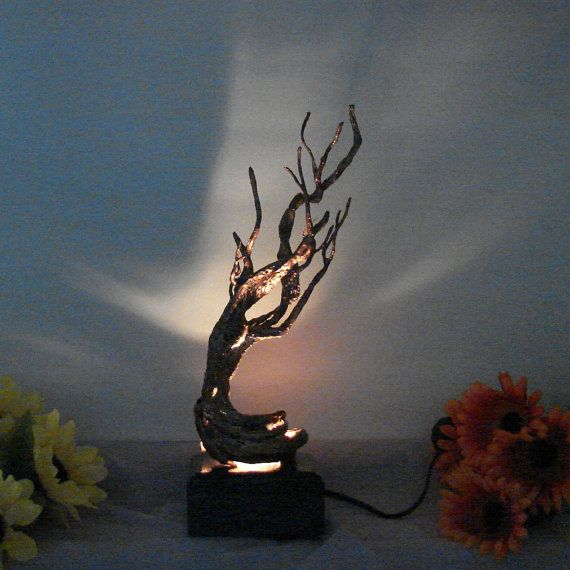 Wire Tree Of Life Sculpture Nature Inspired Bristlecone Pine Bedside Table Lamp Night Light Unique Handmade Original Art Gift Idea