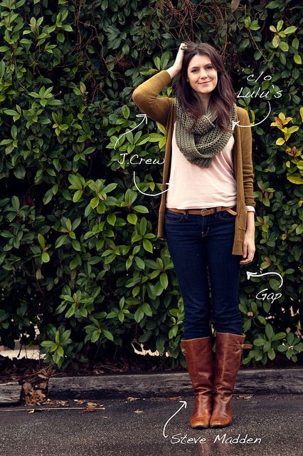 Mustrady brown cardigan (own), peach tank top (own), blue jeans and brown boot- Already have this outfit..just need the olive scarf.