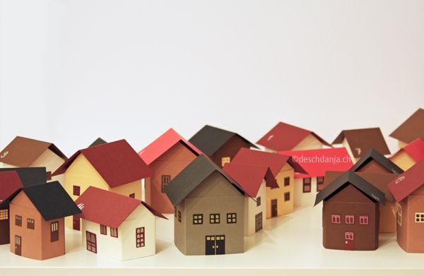 Adventskalender Winterstadt. Advent Calendar Paper Houses Fold Flat For  Storage.