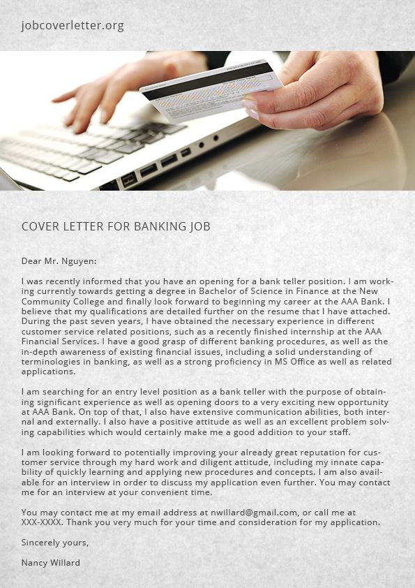 Cover Letter for Banking Job Job Cover Letter job cover letter - cover letters for jobs