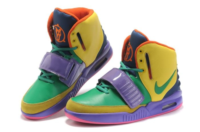 Nike Air Yeezy 2 Men's Shoes(4146) in Yellow/Green/Purple XY