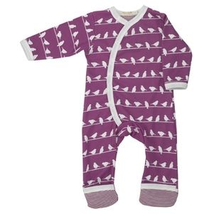 This bird silhouette print all-in-one sleepsuit is in a beautiful purple. It features easy to use poppers and contrasting white borders and fine strip...
