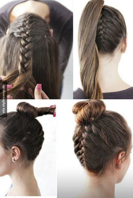 Quick And Easy Hairstyles For Medium Hair The Reverse French Braid  Braided Bun  Pinterest  Reverse French
