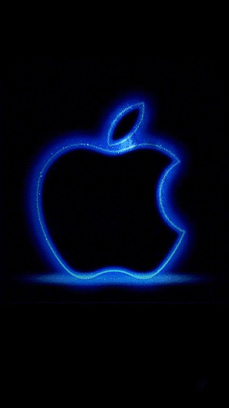 apple logo glowing blue