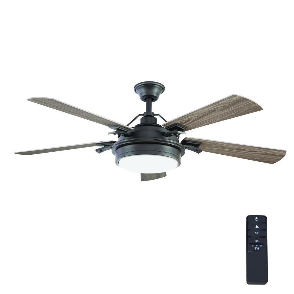 Home Decorators Collection Bromley 52 In Led Indoor Outdoor Bronze Ceiling Fan With Light Kit 34346 With Images Ceiling Fan With Light Fan Light Ceiling Fan