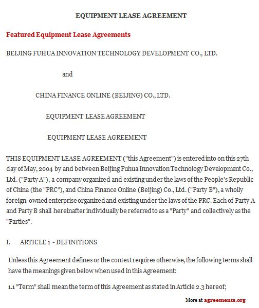 Equipment Lease Agreement, Sample Equipment Lease Agreement - Equipment Rental Agreement