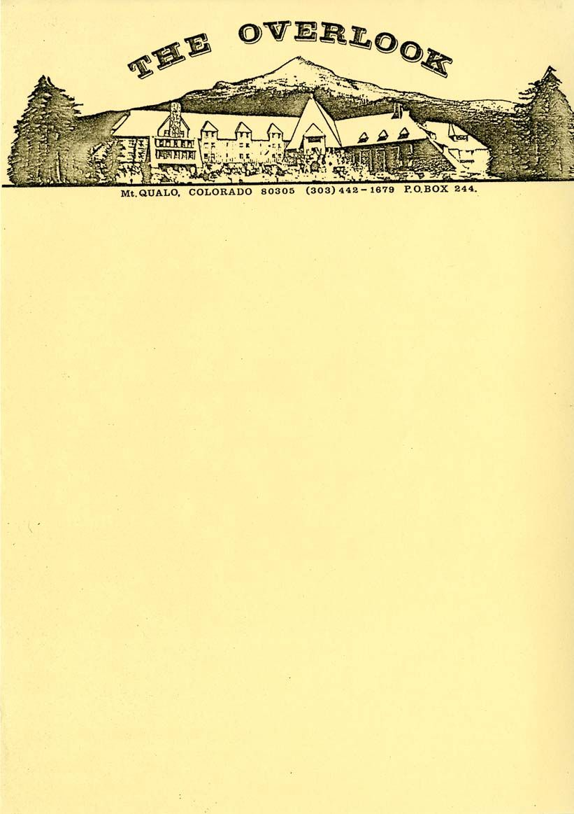 735fa83b951 Production prop letterhead for the Overlook Hotel