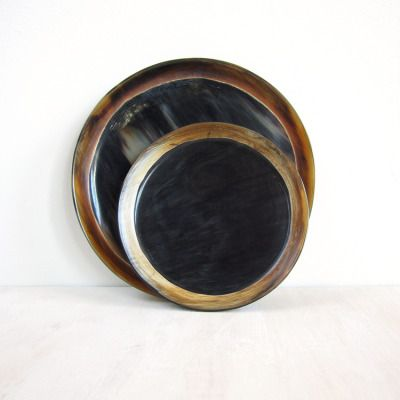 thepoetryofmaterialthings:  http://www.tasknewyork.com/home-table-goods/round-horn-trays