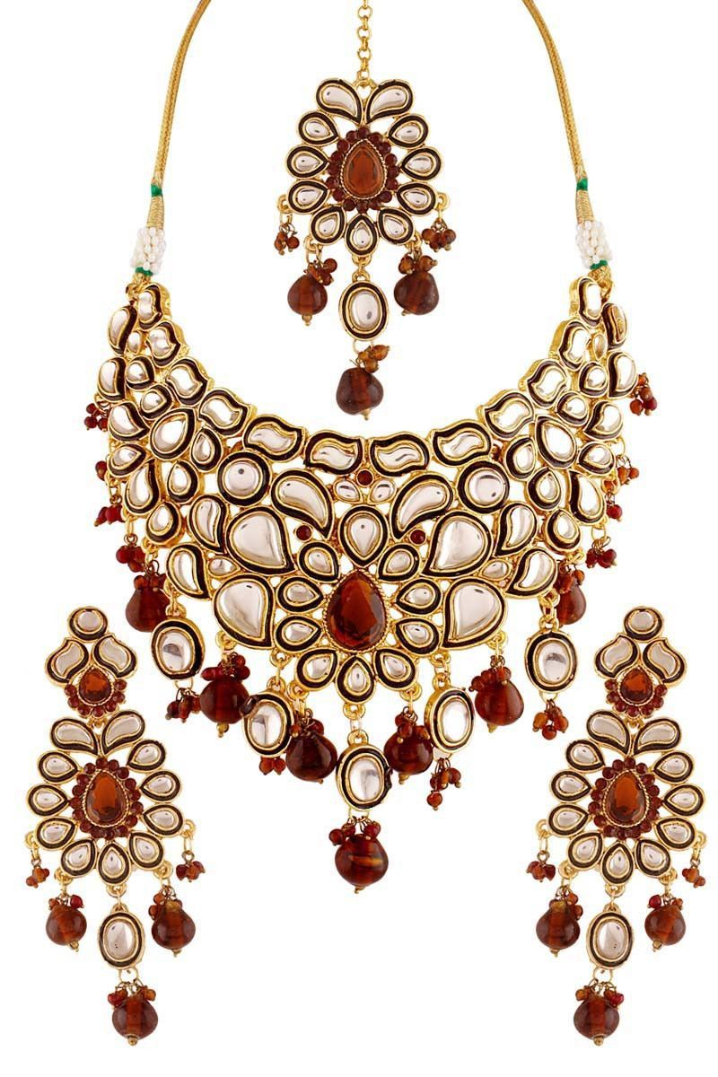 Brown gold plated kundan necklace set products pinterest products