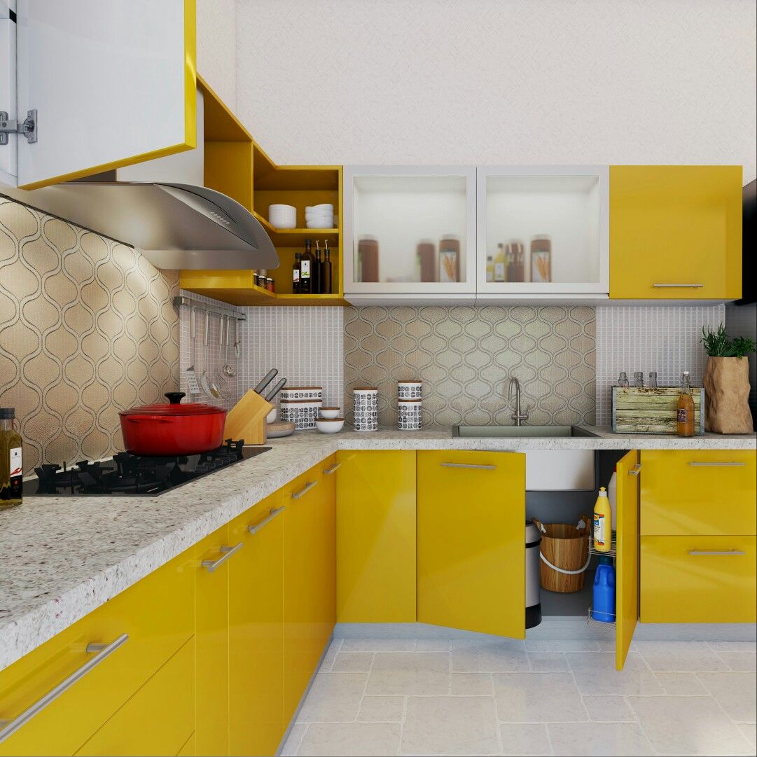 L Shaped Kitchen Ideas For Multipurpose Spaces: Happy, Yellow Modular Kitchen With Plenty Of Storage Space