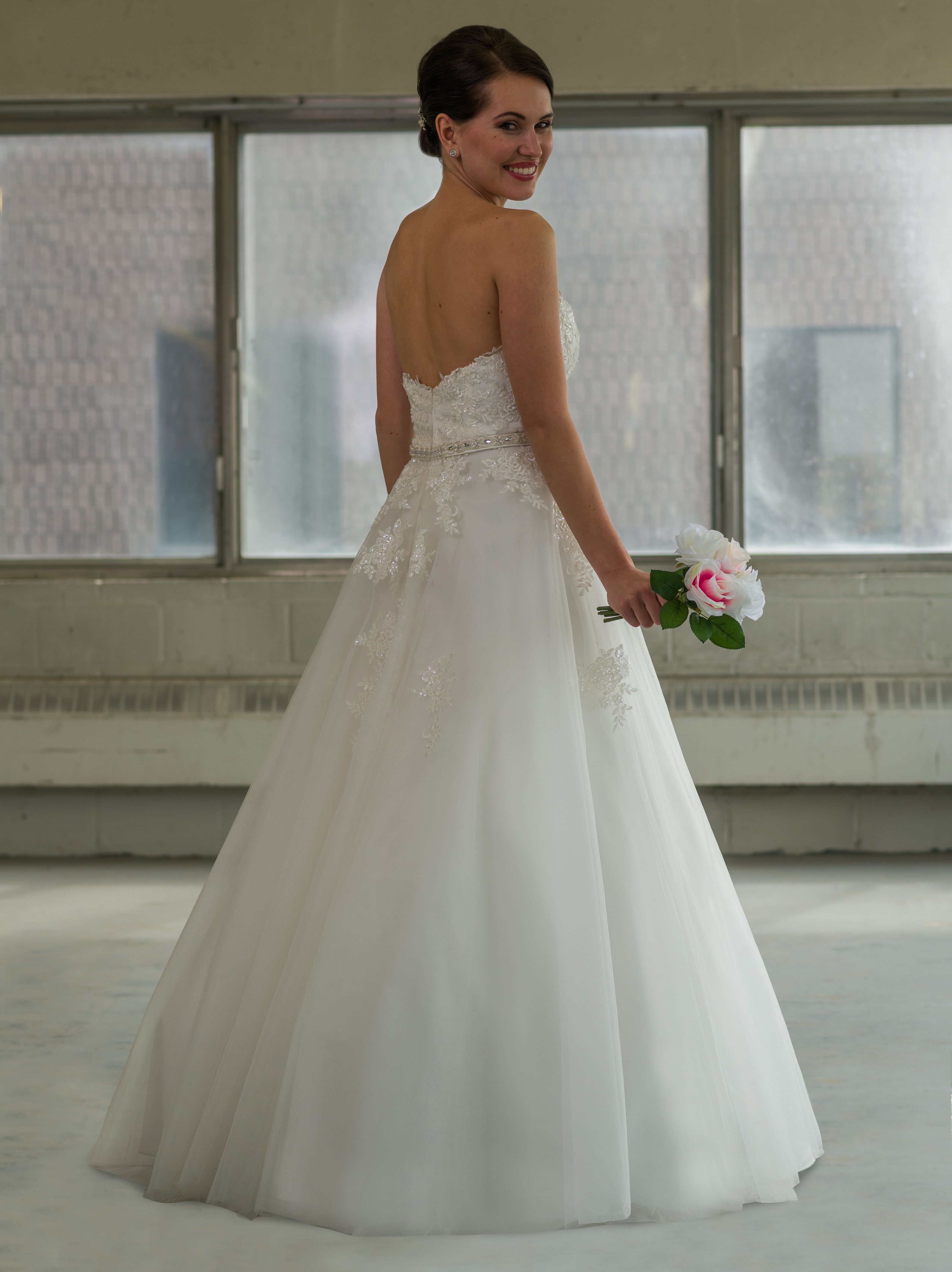 Wedding dress for short girl  Princess inspired gown Bridalane style  features a beaded lace