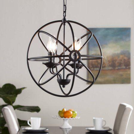 Southern Enterprises Ole 4-Light Fixed Globe Pendant Lamp, Black