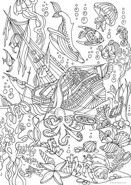 Sunken Ship At The Bottom Of Ocean Coloring Page