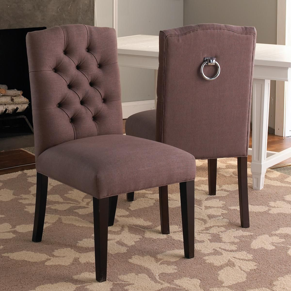Tufted Back Dining Chair W/Silver Ring