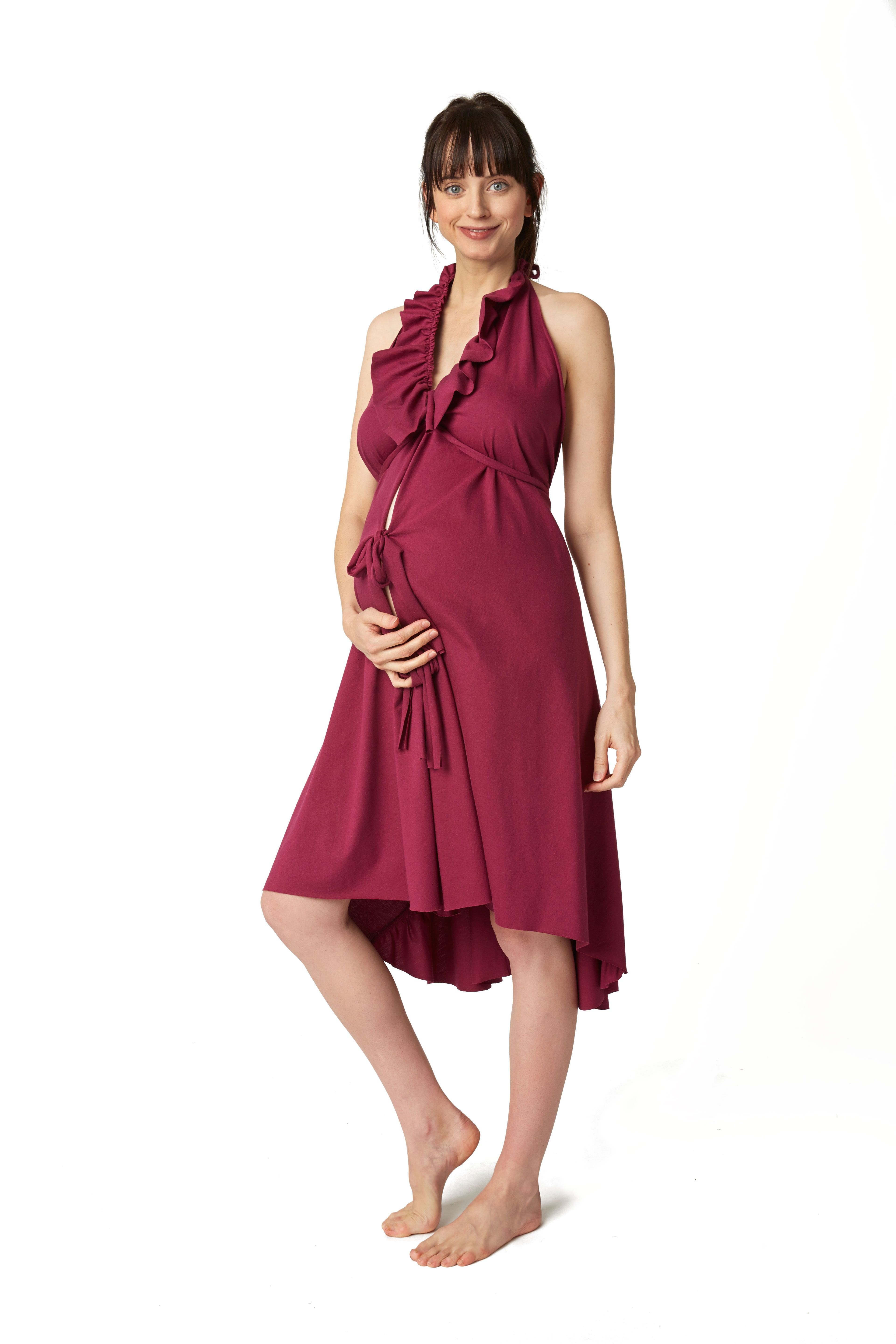 2505fd92952 Ruffle Labor Gown in Wine by Pretty Pushers. Only at Amazon.com 100%  cotton