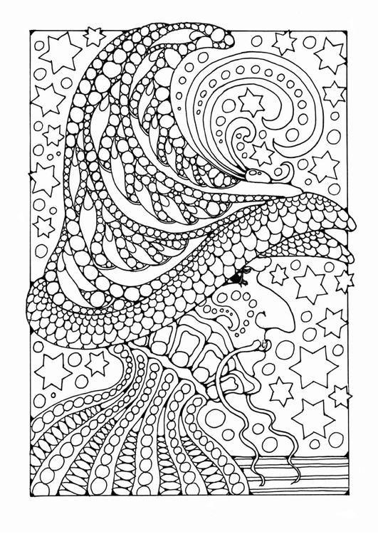 Kleurplaat tovenaar.   Coloring for Stress   Pinterest