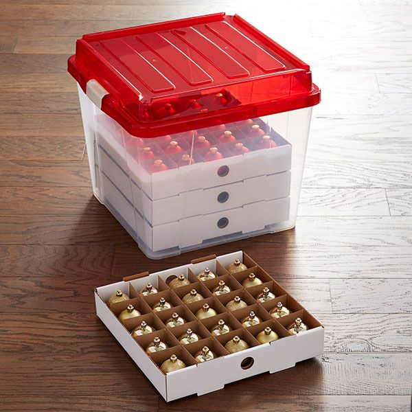 The Container Store Christmas Ornament Storage Ornament Storage Christmas Ornament Storage Holiday Storage
