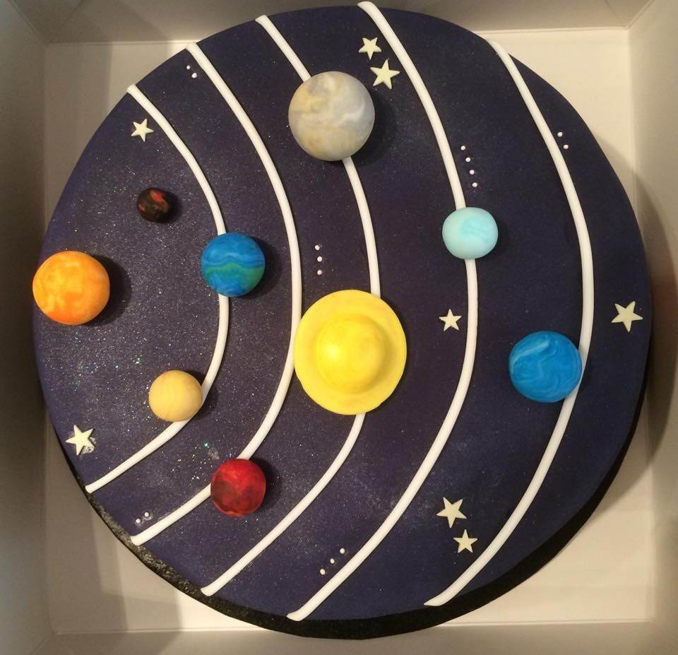 Solar system cake birthday and xmas ideas pinterest for Cake decorations outer space