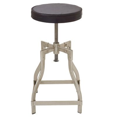 Cole & Grey Metal and Leather Adjustable Accent Stool Color:
