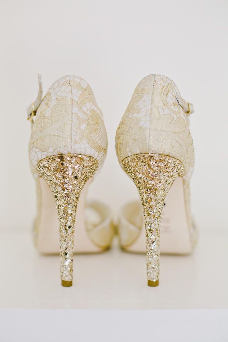 Gold Sparkle And Lace Bhldn Bridal Heels Onelove Photograph Http Knot
