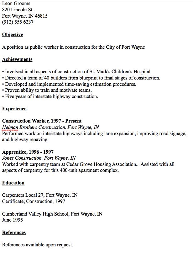 Public Worker Resume Example - http://resumesdesign.com/public ...