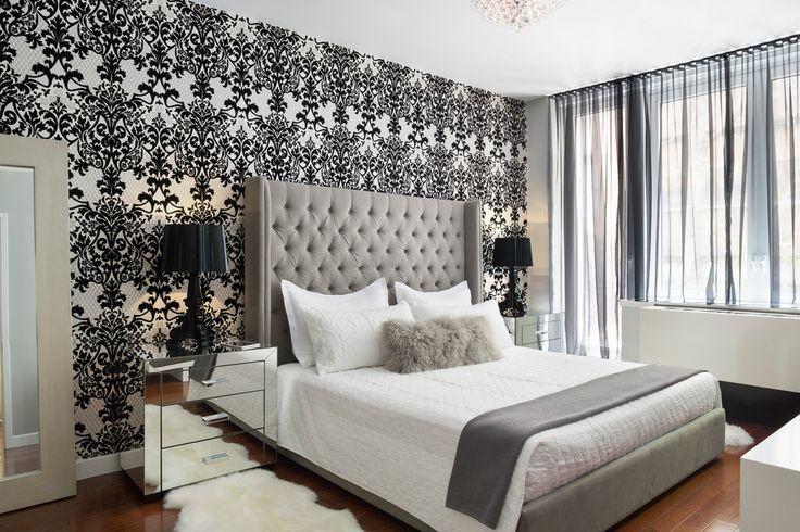 Best Black And White Damask Best Damask Bedroom Ideas Damask Bedroom Feature Wall Bedroom Modern 640 x 480