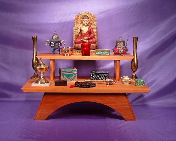 Two Tier Table Top Meditation Altar   Puja Table, Solid Cherry Wood
