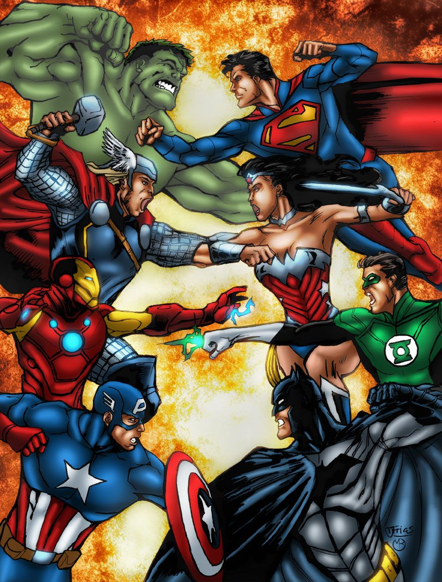Avengers Vs Justice League By Marcbourcier Dc Comics Vs Marvel Avengers Vs Justice League Marvel And Dc Crossover