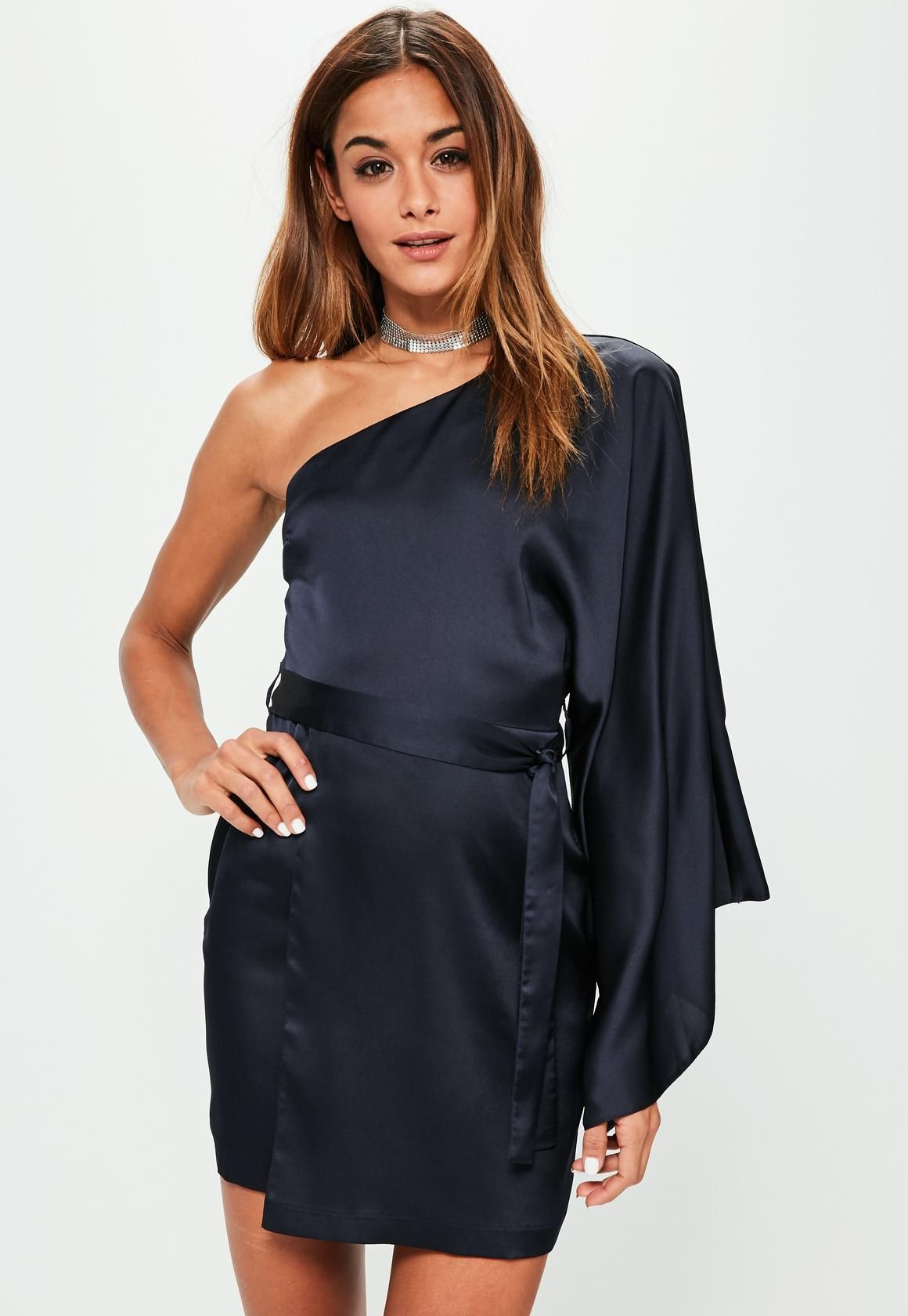 f61b39e22e9 Missguided - Blue Silky One Shoulder Sleeve Shift Dress