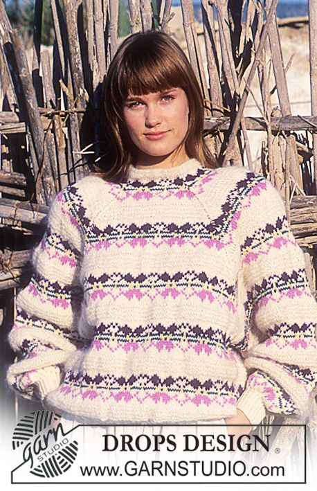 """DROPS 17-23 - DROPS jumper with flower pattern borders and raglan sleeve in """"Karisma Superwash"""". - Free pattern by DROPS Design"""