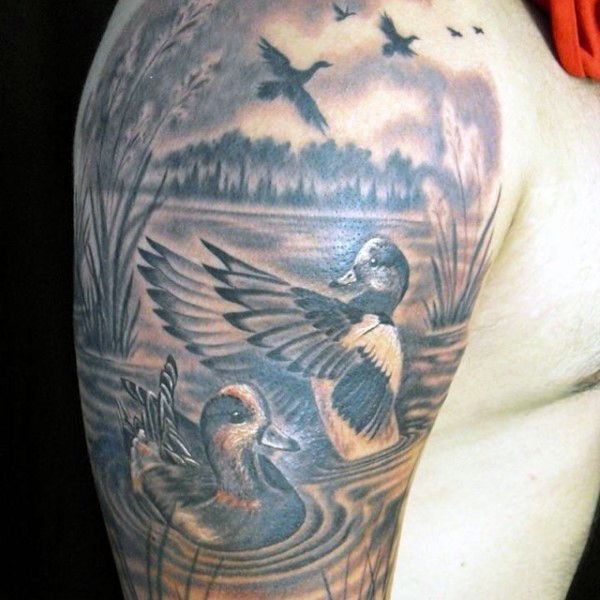70 Duck Tattoos For Men - Masculine Waterfowl Ink Designs ...